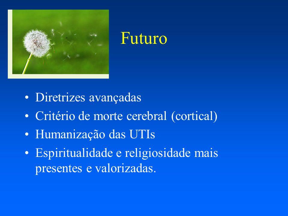 Futuro Diretrizes avançadas Critério de morte cerebral (cortical) Humanização das UTIs Espiritualidade e religiosidade mais presentes e valorizadas.