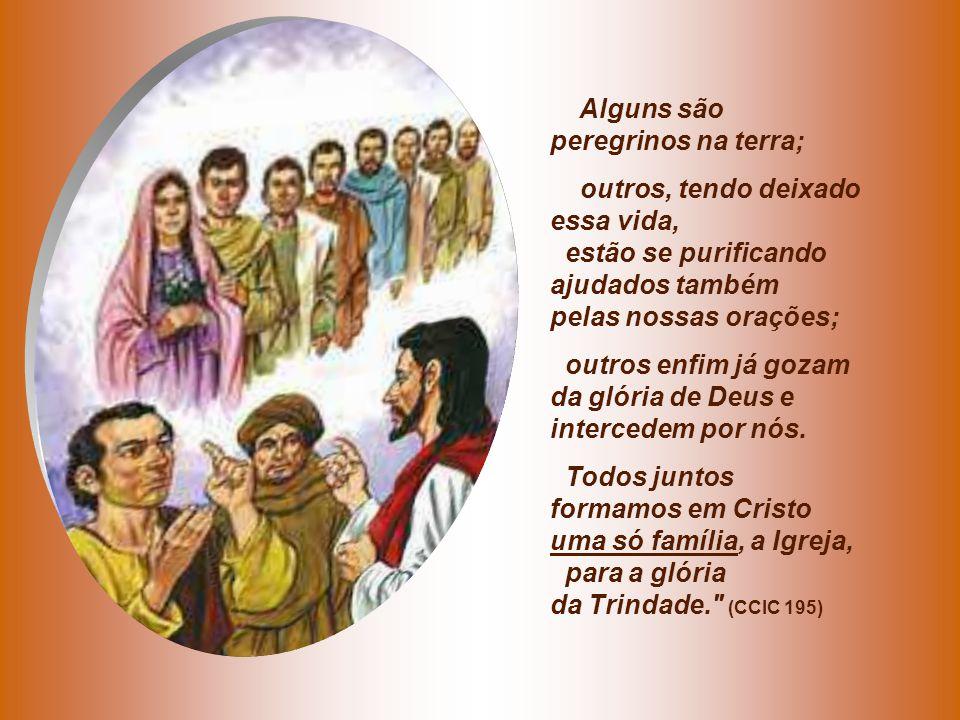 Alguns são peregrinos na terra; outros, tendo deixado essa vida, estão se purificando ajudados também pelas nossas orações; outros enfim já gozam da glória de Deus e intercedem por nós.