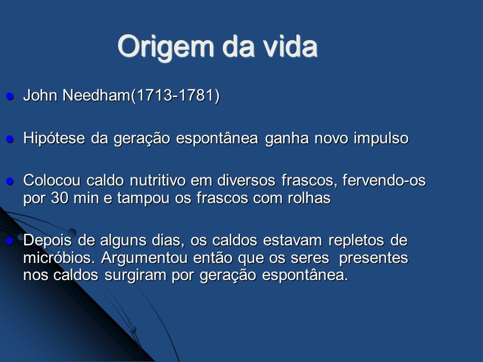 John Needham(1713-1781) John Needham(1713-1781) Hipótese da geração espontânea ganha novo impulso Hipótese da geração espontânea ganha novo impulso Co