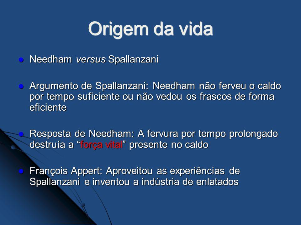 Origem da vida Needham versus Spallanzani Needham versus Spallanzani Argumento de Spallanzani: Needham não ferveu o caldo por tempo suficiente ou não