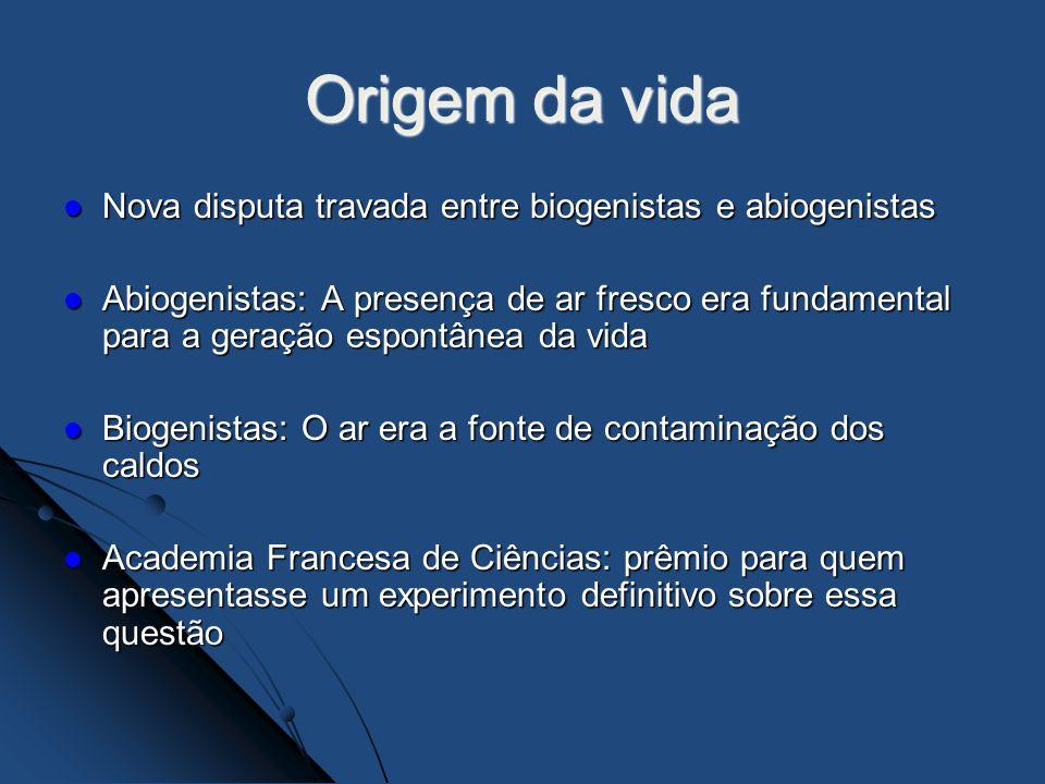 Origem da vida Nova disputa travada entre biogenistas e abiogenistas Nova disputa travada entre biogenistas e abiogenistas Abiogenistas: A presença de