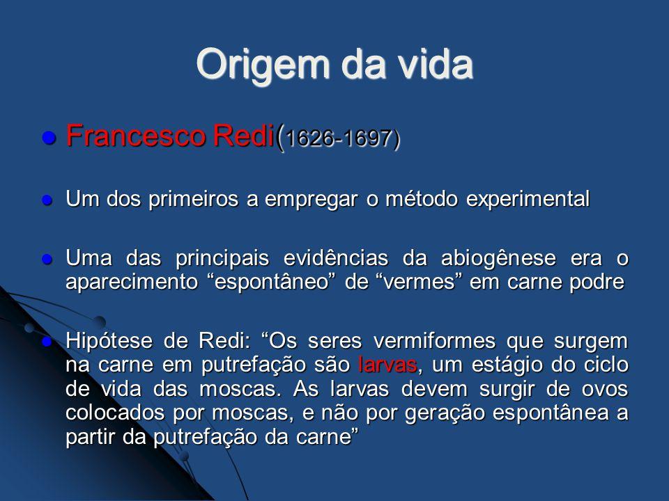 Origem da vida Francesco Redi( 1626-1697) Francesco Redi( 1626-1697) Um dos primeiros a empregar o método experimental Um dos primeiros a empregar o m