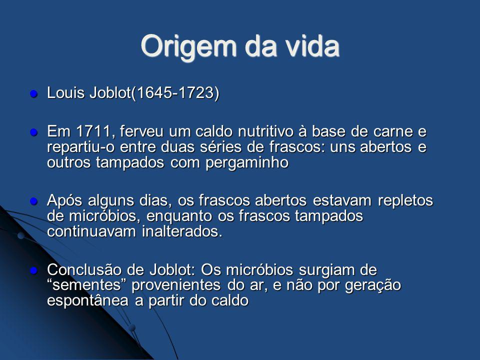 Origem da vida Louis Joblot(1645-1723) Louis Joblot(1645-1723) Em 1711, ferveu um caldo nutritivo à base de carne e repartiu-o entre duas séries de fr