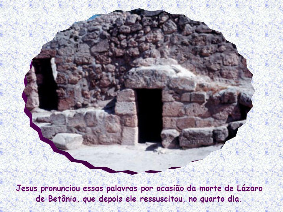 Jesus pronunciou essas palavras por ocasião da morte de Lázaro de Betânia, que depois ele ressuscitou, no quarto dia.