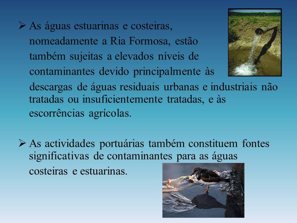 As águas estuarinas e costeiras, nomeadamente a Ria Formosa, estão também sujeitas a elevados níveis de contaminantes devido principalmente às descarg