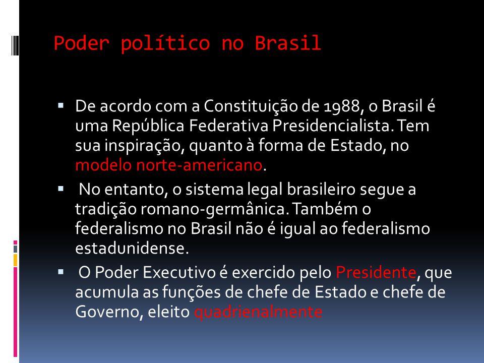 Poder político no Brasil De acordo com a Constituição de 1988, o Brasil é uma República Federativa Presidencialista. Tem sua inspiração, quanto à form