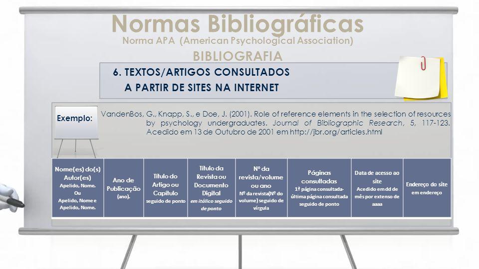 6. TEXTOS/ARTIGOS CONSULTADOS A PARTIR DE SITES NA INTERNET VandenBos, G., Knapp, S., e Doe, J. (2001). Role of reference elements in the selection of