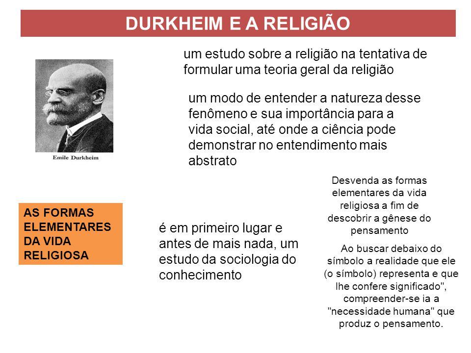 DURKHEIM E A RELIGIÃO AS FORMAS ELEMENTARES DA VIDA RELIGIOSA um estudo sobre a religião na tentativa de formular uma teoria geral da religião um modo