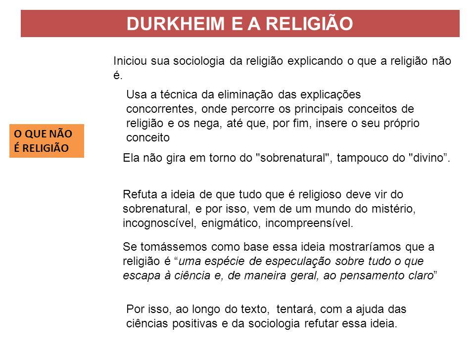 Iniciou sua sociologia da religião explicando o que a religião não é. Refuta a ideia de que tudo que é religioso deve vir do sobrenatural, e por isso,