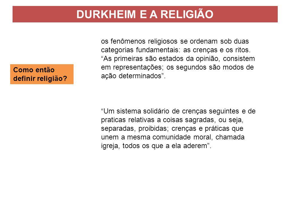 Como então definir religião? os fenômenos religiosos se ordenam sob duas categorias fundamentais: as crenças e os ritos. As primeiras são estados da o