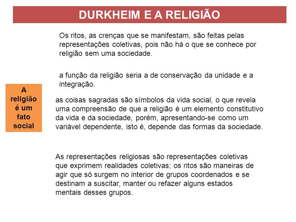 a função da religião seria a de conservação da unidade e a integração.