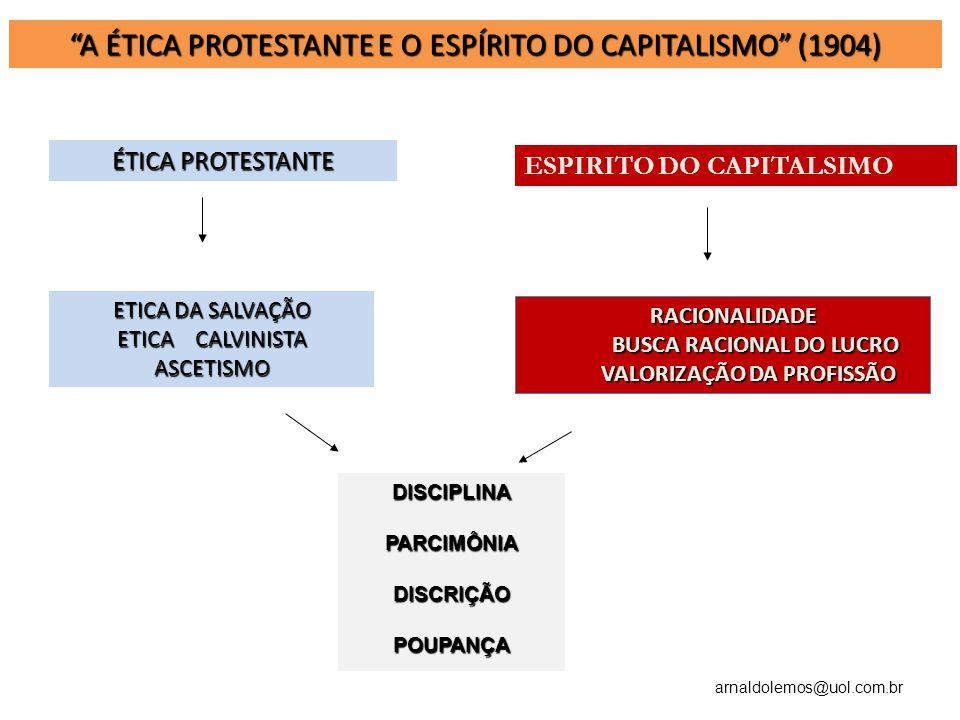 arnaldolemos@uol.com.br A ÉTICA PROTESTANTE E O ESPÍRITO DO CAPITALISMO (1904) ÉTICA PROTESTANTE ETICA DA SALVAÇÃO ETICA CALVINISTA ASCETISMO RACIONAL
