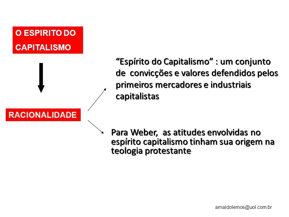 arnaldolemos@uol.com.br Espírito do Capitalismo : um conjunto de convicções e valores defendidos pelos primeiros mercadores e industriais capitalistas