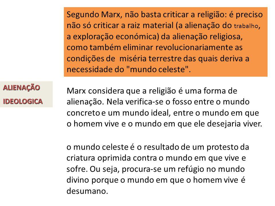 Segundo Marx, não basta criticar a religião: é preciso não só criticar a raiz material (a alienação do trabalho, a exploração económica) da alienação