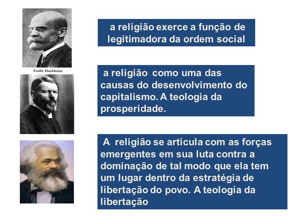 a religião exerce a função de legitimadora da ordem social A religião se articula com as forças emergentes em sua luta contra a dominação de tal modo que ela tem um lugar dentro da estratégia de libertação do povo.