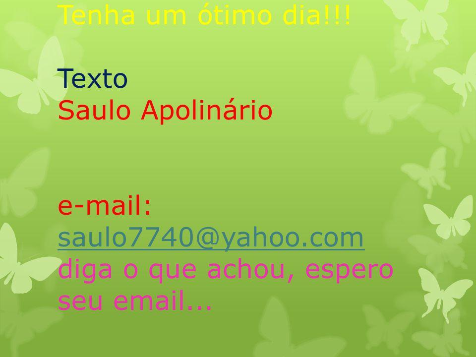 Tenha um ótimo dia!!! Texto Saulo Apolinário e-mail: saulo7740@yahoo.com diga o que achou, espero seu email... saulo7740@yahoo.com