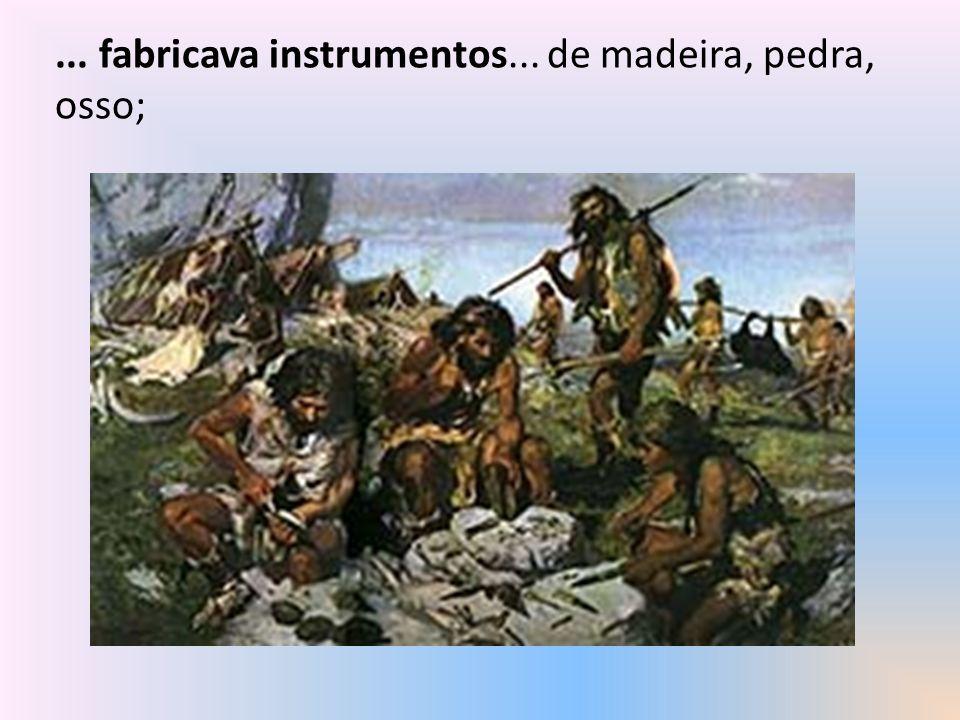 ... fabricava instrumentos... de madeira, pedra, osso;