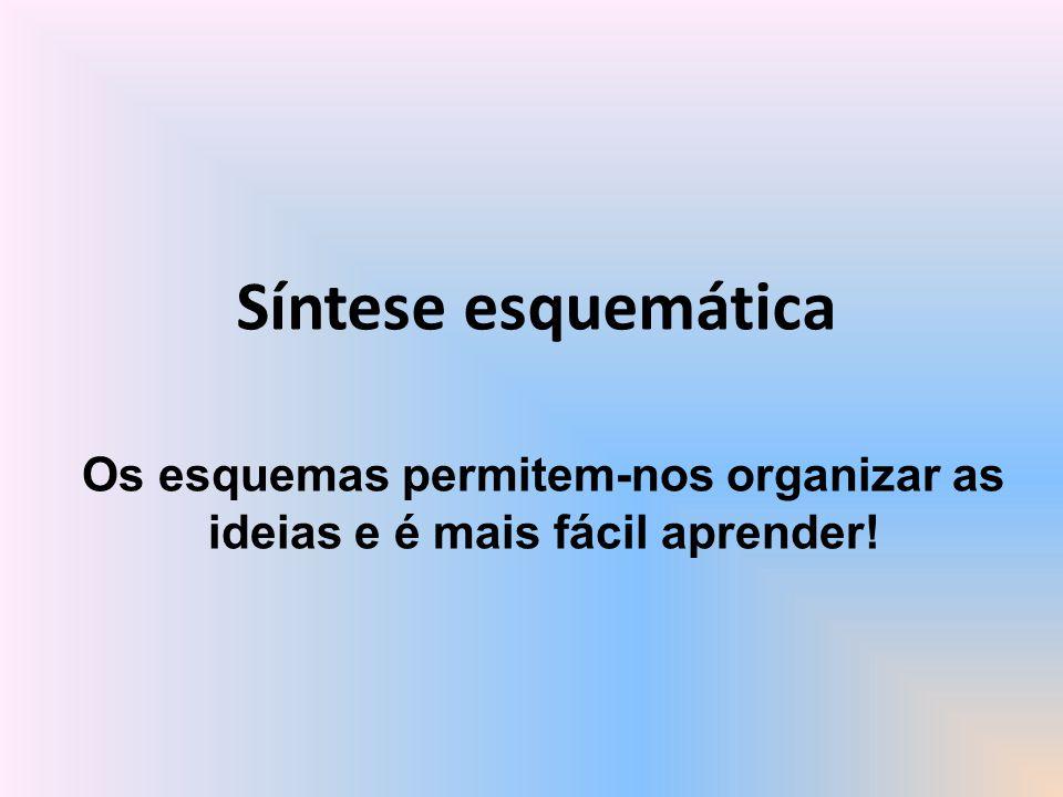 Síntese esquemática Os esquemas permitem-nos organizar as ideias e é mais fácil aprender!
