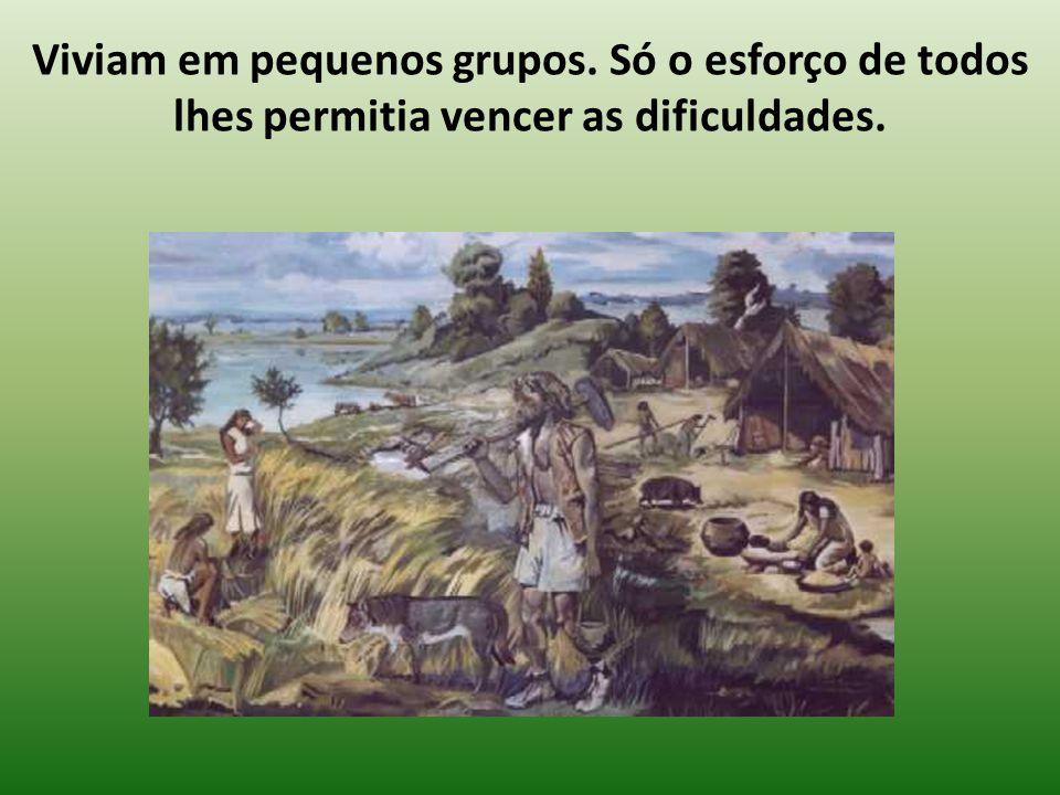 Viviam em pequenos grupos. Só o esforço de todos lhes permitia vencer as dificuldades.