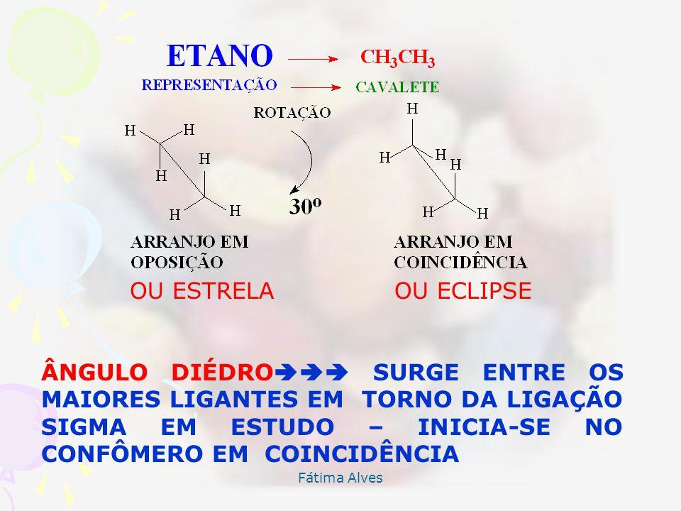 Fátima Alves ANÁLISE CONFORMACIONAL DE COMPOSTOS ACÍCLICOS Os átomos de Carbono sofrem rotação em torno da ligação SIMPLES SIGMA(), e mostram a existê
