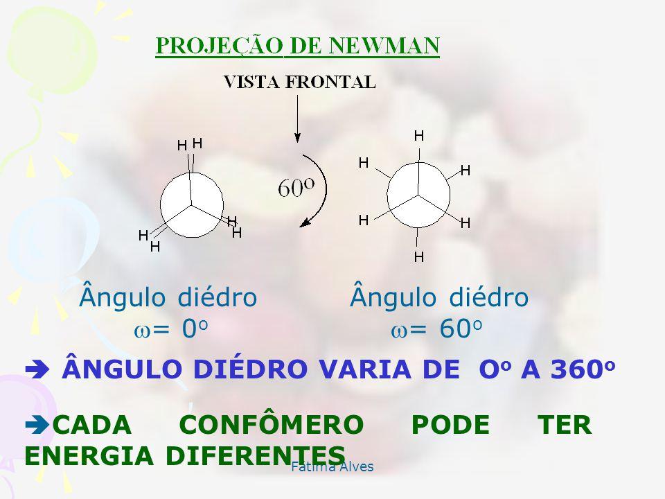 Fátima Alves Ângulo diédro = 0 o = 60 o ÂNGULO DIÉDRO VARIA DE O o A 360 o CADA CONFÔMERO PODE TER ENERGIA DIFERENTES