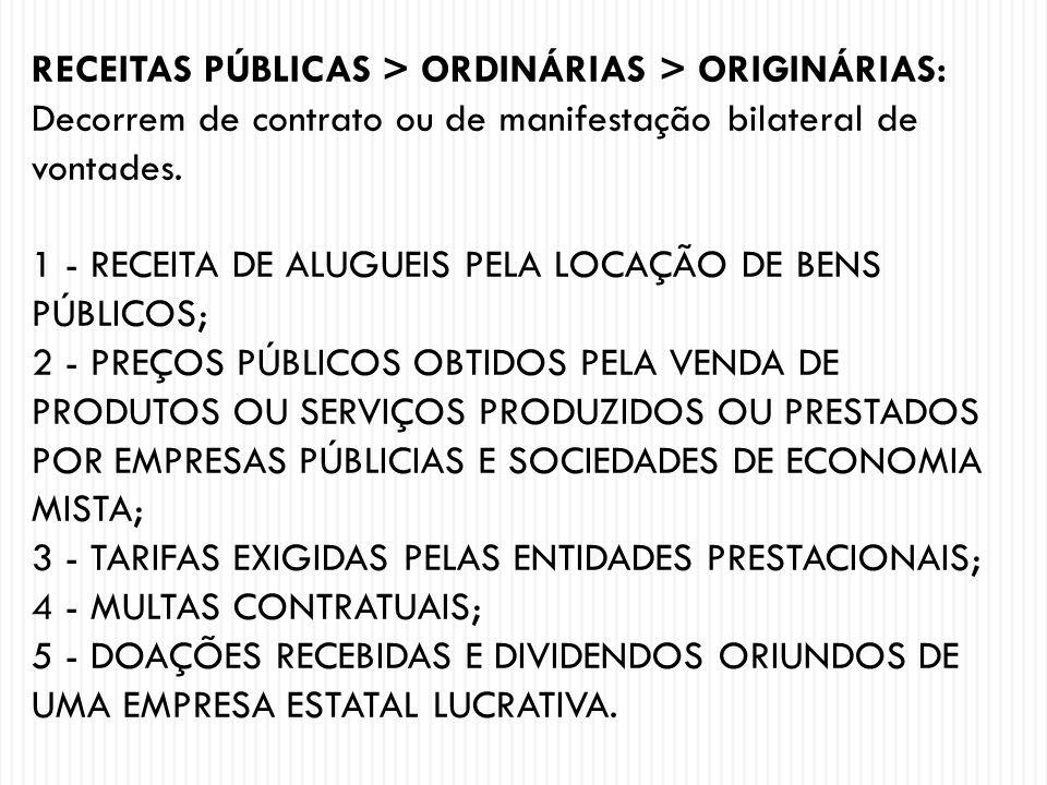 RECEITAS PÚBLICAS > ORDINÁRIAS > ORIGINÁRIAS: Decorrem de contrato ou de manifestação bilateral de vontades. 1 - RECEITA DE ALUGUEIS PELA LOCAÇÃO DE B