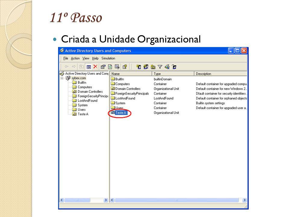 11º Passo Criada a Unidade Organizacional
