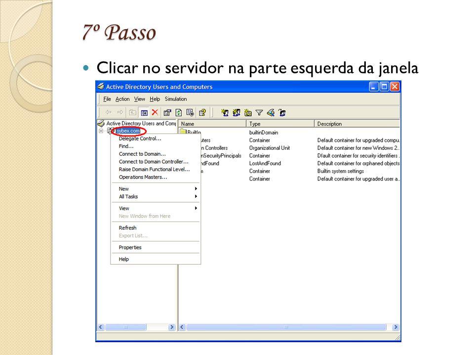 7º Passo Clicar no servidor na parte esquerda da janela