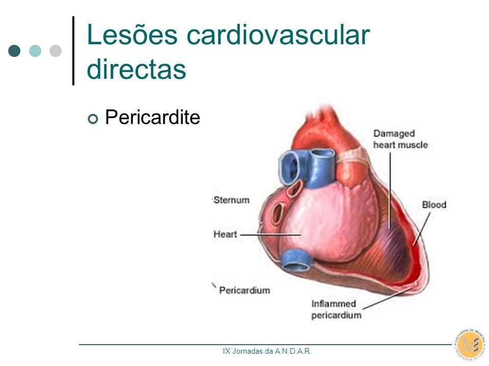 IX Jornadas da A.N.D.A.R. Lesões cardiovascular directas Pericardite