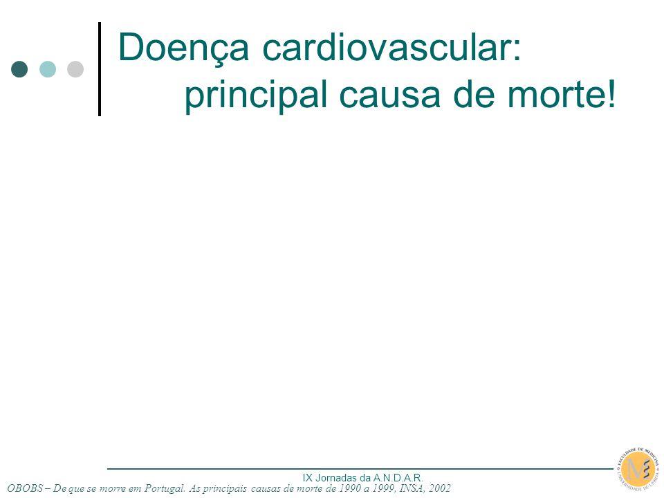 IX Jornadas da A.N.D.A.R. Doença cardiovascular: principal causa de morte! OBOBS – De que se morre em Portugal. As principais causas de morte de 1990