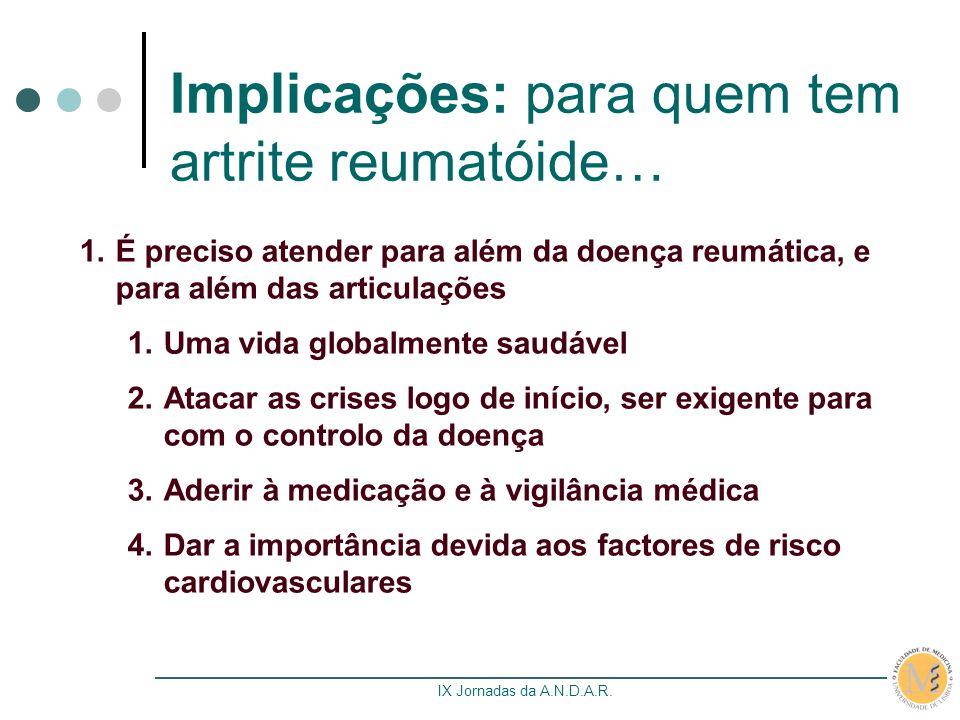 IX Jornadas da A.N.D.A.R. Implicações: para quem tem artrite reumatóide… 1.É preciso atender para além da doença reumática, e para além das articulaçõ