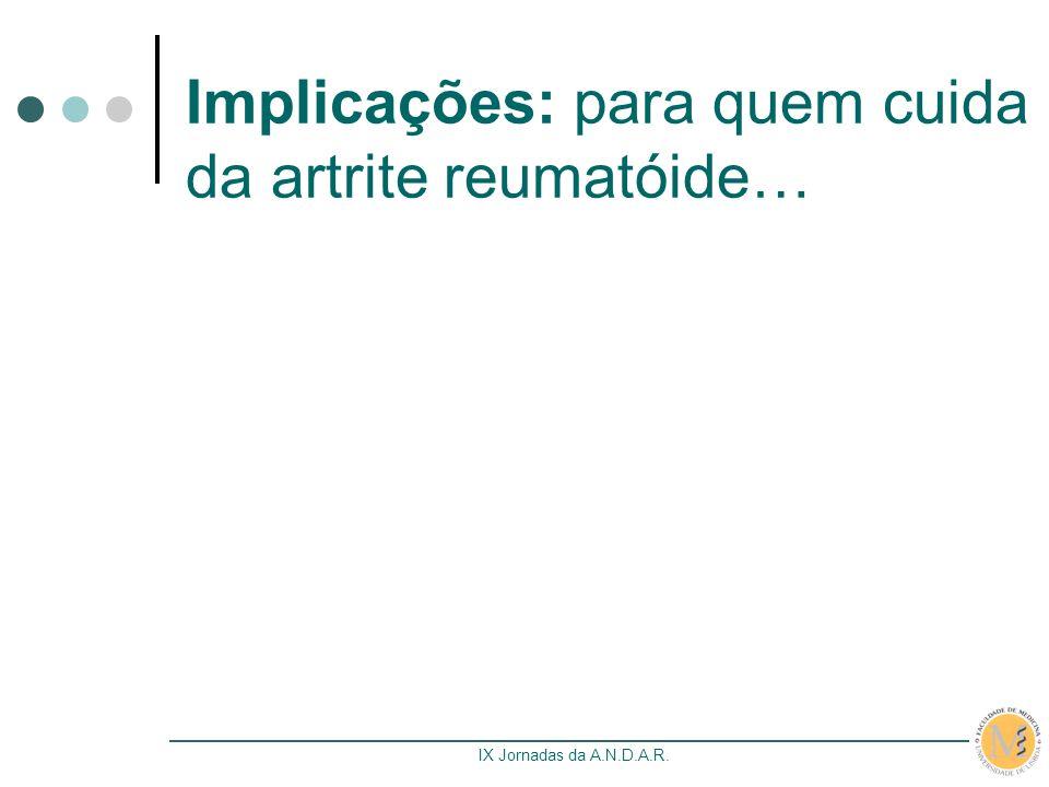 IX Jornadas da A.N.D.A.R. Implicações: para quem cuida da artrite reumatóide…