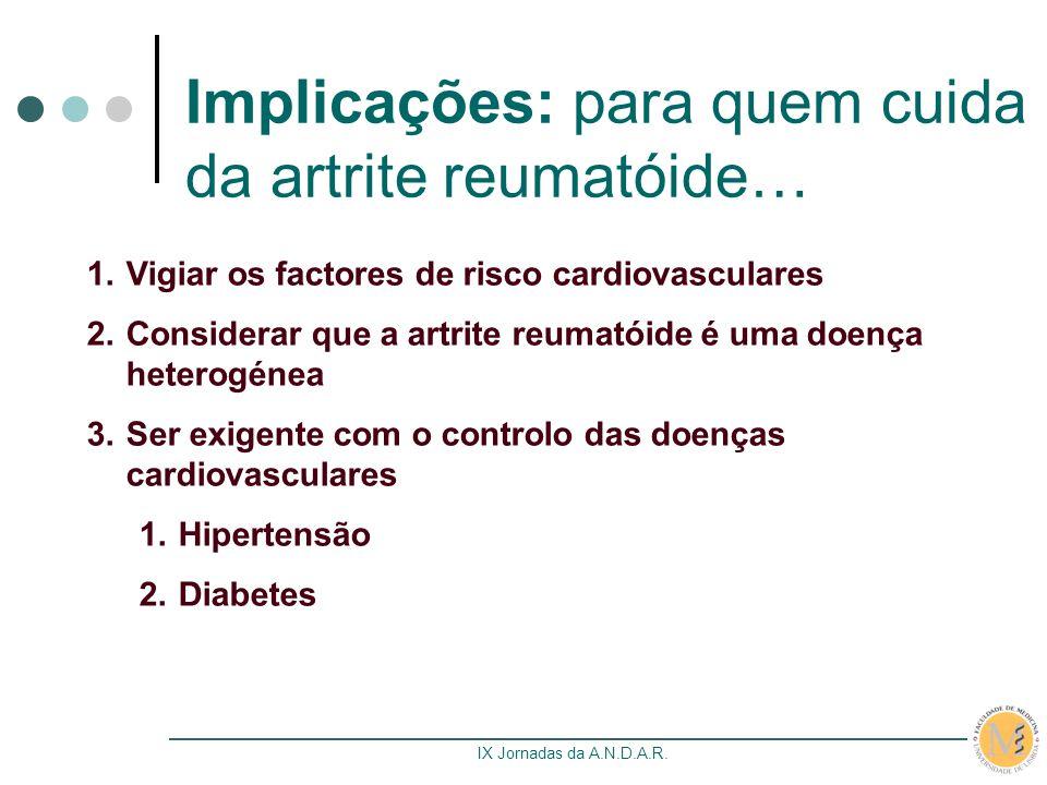 IX Jornadas da A.N.D.A.R. Implicações: para quem cuida da artrite reumatóide… 1.Vigiar os factores de risco cardiovasculares 2.Considerar que a artrit