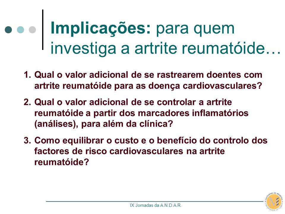 IX Jornadas da A.N.D.A.R. Implicações: para quem investiga a artrite reumatóide… 1.Qual o valor adicional de se rastrearem doentes com artrite reumató