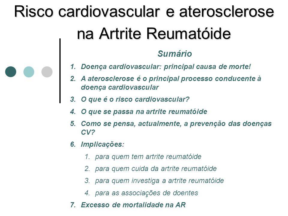 Risco cardiovascular e aterosclerose na Artrite Reumatóide Sumário 1.Doença cardiovascular: principal causa de morte! 2.A aterosclerose é o principal