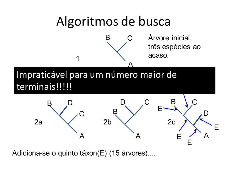 Algoritmos de busca A B C 1 2a Árvore inicial, três espécies ao acaso.