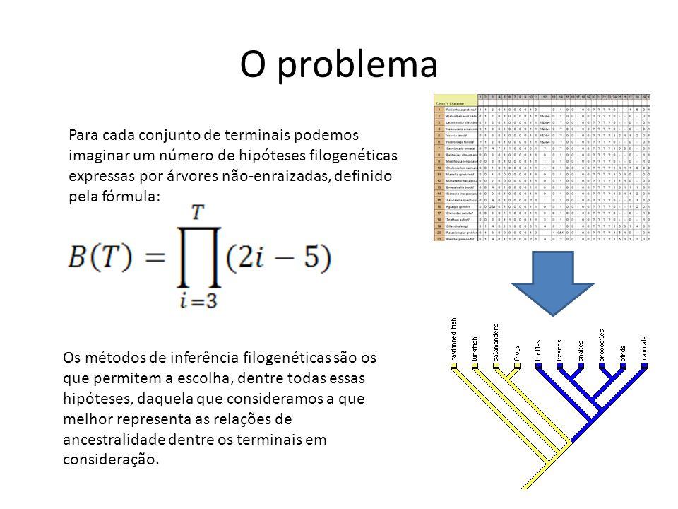 Número de clados Enraizada (2n-3)!/(2n- 2(n-2)!) Não-enraizada (2n-5)!/(2n- 3(n-3)!) 211 331 4153 510515 6954105 710,395954 8135,13510,395 92,027,025135,135 1034,459,4252,027,025 O problema