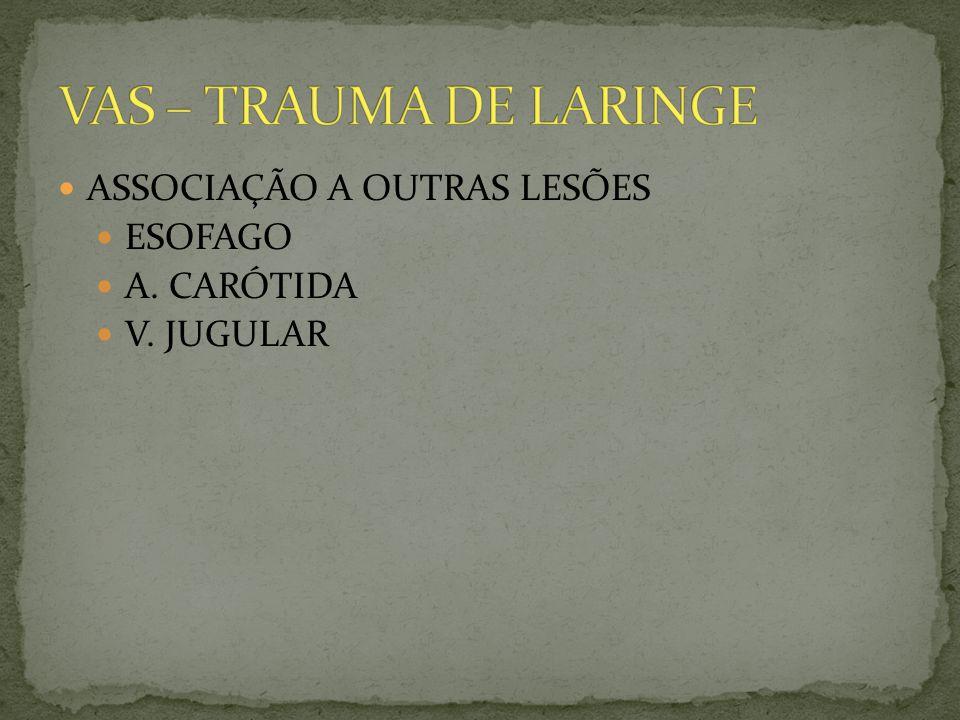 ASSOCIAÇÃO A OUTRAS LESÕES ESOFAGO A. CARÓTIDA V. JUGULAR