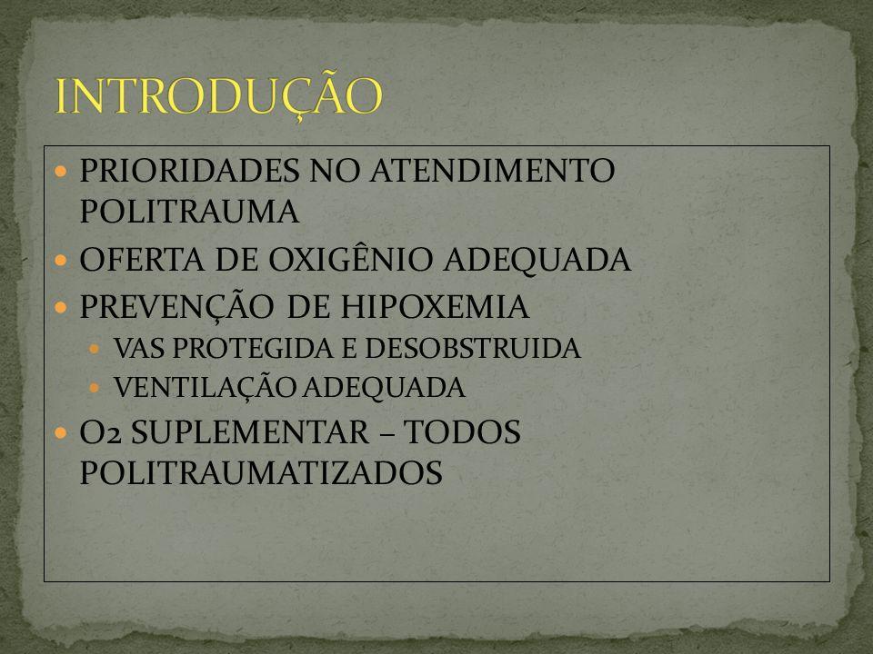 PRIORIDADES NO ATENDIMENTO POLITRAUMA OFERTA DE OXIGÊNIO ADEQUADA PREVENÇÃO DE HIPOXEMIA VAS PROTEGIDA E DESOBSTRUIDA VENTILAÇÃO ADEQUADA O2 SUPLEMENT