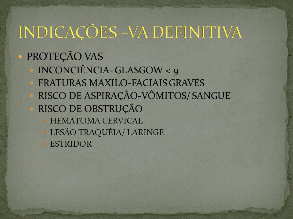 PROTEÇÃO VAS INCONCIÊNCIA- GLASGOW < 9 FRATURAS MAXILO-FACIAIS GRAVES RISCO DE ASPIRAÇÃO-VÔMITOS/ SANGUE RISCO DE OBSTRUÇÃO HEMATOMA CERVICAL LESÃO TR