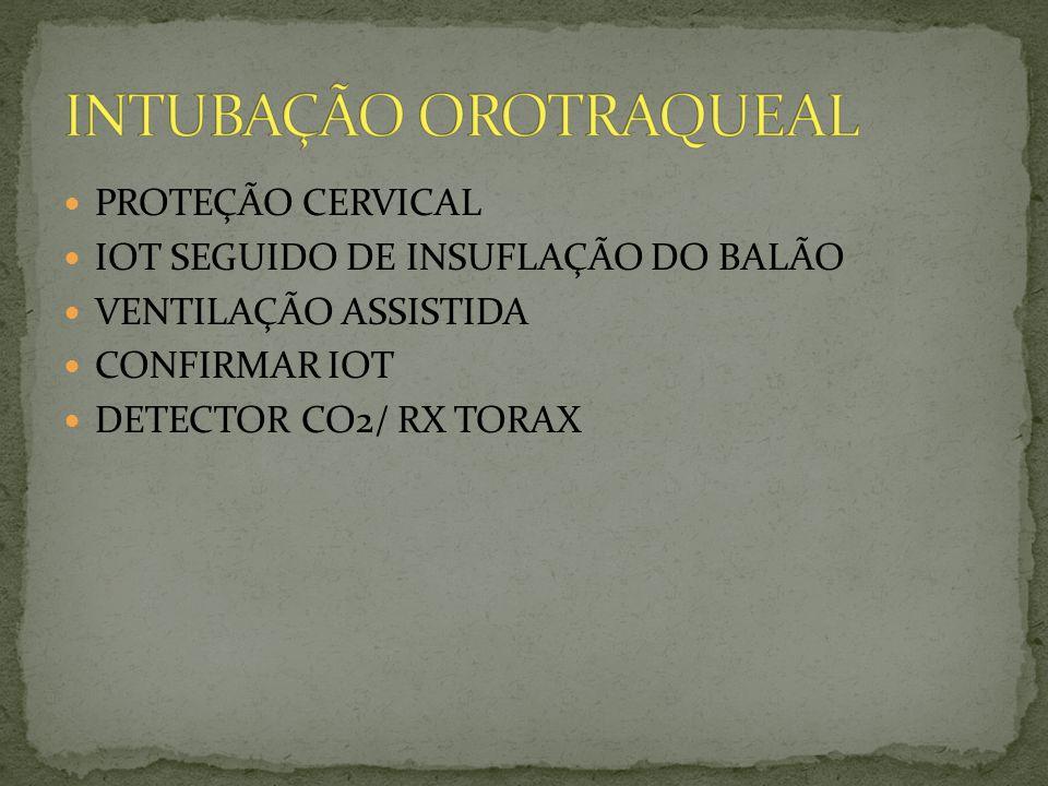 PROTEÇÃO CERVICAL IOT SEGUIDO DE INSUFLAÇÃO DO BALÃO VENTILAÇÃO ASSISTIDA CONFIRMAR IOT DETECTOR CO2/ RX TORAX