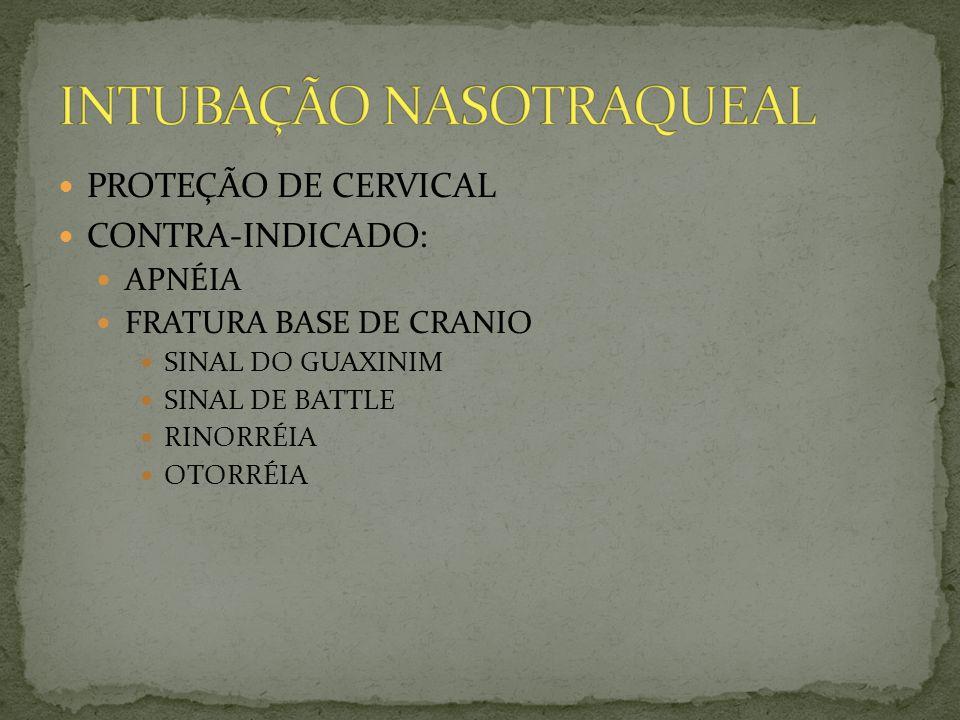 PROTEÇÃO DE CERVICAL CONTRA-INDICADO: APNÉIA FRATURA BASE DE CRANIO SINAL DO GUAXINIM SINAL DE BATTLE RINORRÉIA OTORRÉIA
