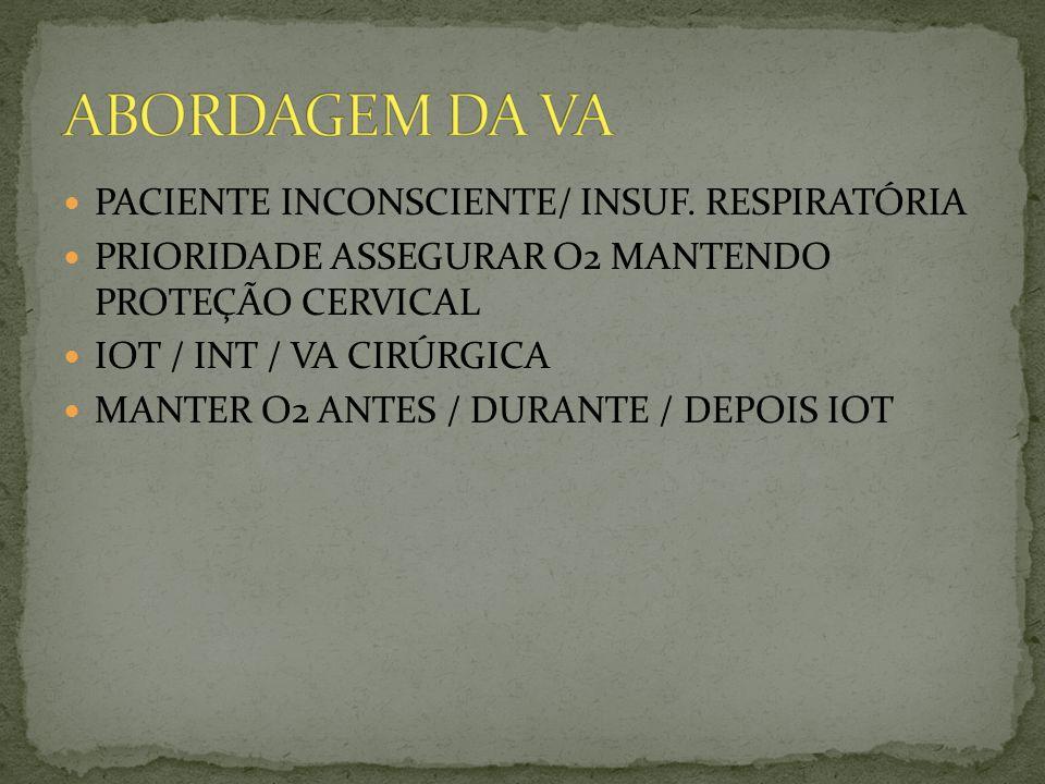 PACIENTE INCONSCIENTE/ INSUF. RESPIRATÓRIA PRIORIDADE ASSEGURAR O2 MANTENDO PROTEÇÃO CERVICAL IOT / INT / VA CIRÚRGICA MANTER O2 ANTES / DURANTE / DEP