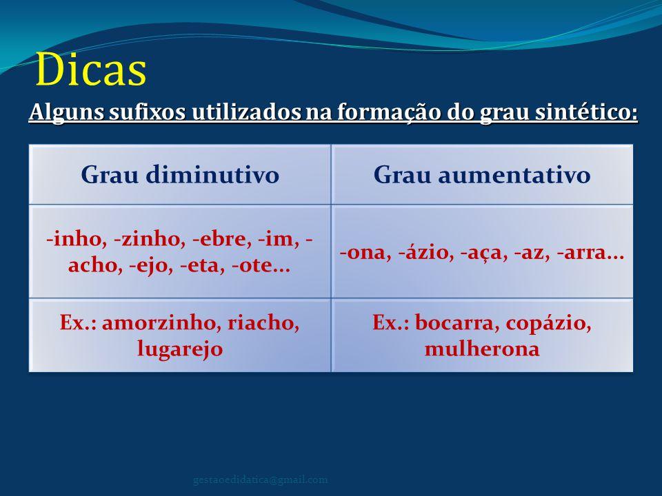 Dicas Alguns sufixos utilizados na formação do grau sintético: gestaoedidatica@gmail.com