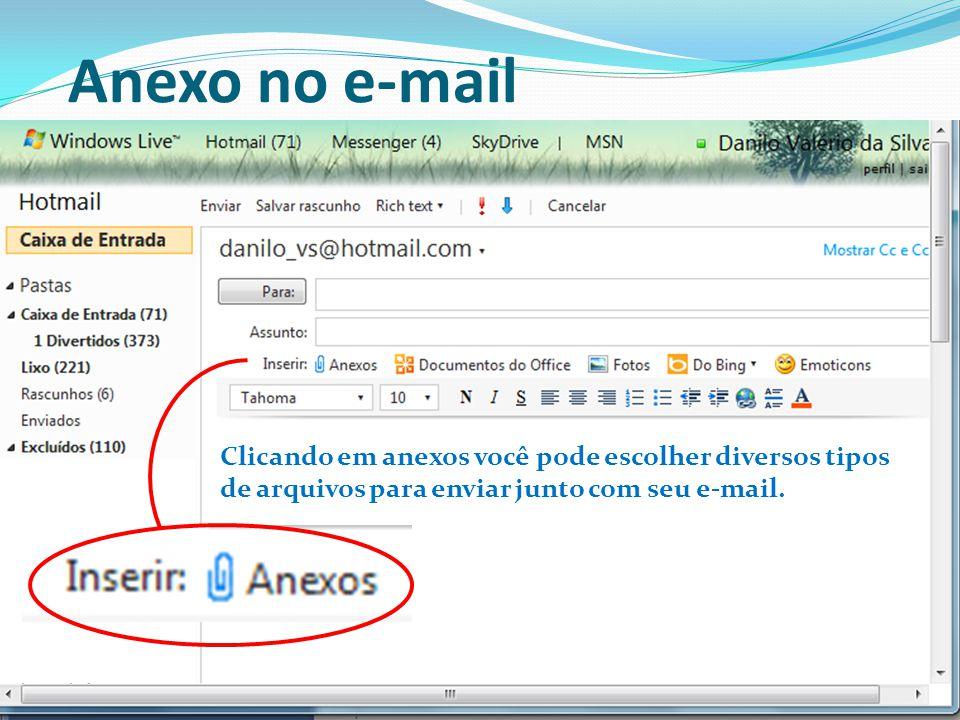 Anexo no e-mail Clicando em anexos você pode escolher diversos tipos de arquivos para enviar junto com seu e-mail.