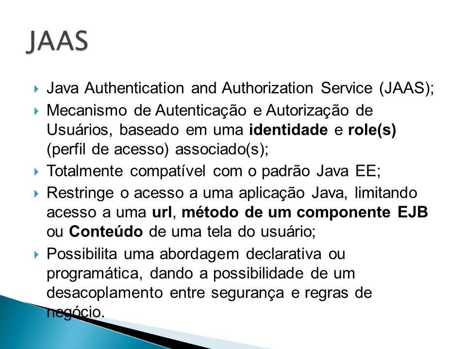 Java Authentication and Authorization Service (JAAS); Mecanismo de Autenticação e Autorização de Usuários, baseado em uma identidade e role(s) (perfil