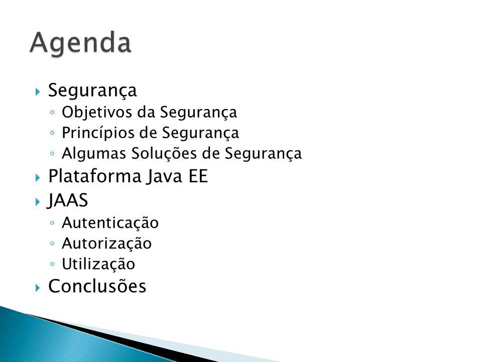 Segurança Objetivos da Segurança Princípios de Segurança Algumas Soluções de Segurança Plataforma Java EE JAAS Autenticação Autorização Utilização Con