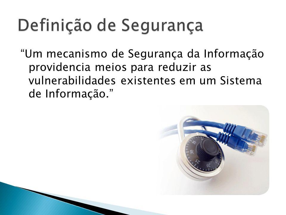 Um mecanismo de Segurança da Informação providencia meios para reduzir as vulnerabilidades existentes em um Sistema de Informação.