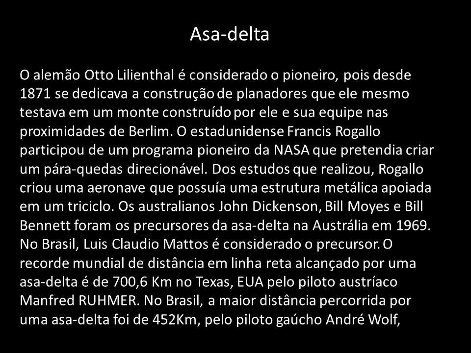 Asa-delta O alemão Otto Lilienthal é considerado o pioneiro, pois desde 1871 se dedicava a construção de planadores que ele mesmo testava em um monte