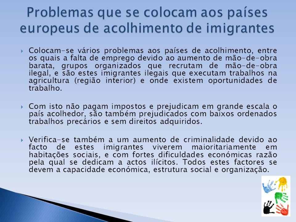 Colocam-se vários problemas aos países de acolhimento, entre os quais a falta de emprego devido ao aumento de mão-de-obra barata, grupos organizados q